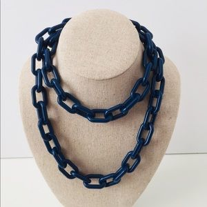 Jewelry - BRAND NEW NAVY BLUE LARGE LINK ACRYLIC NECKLACE